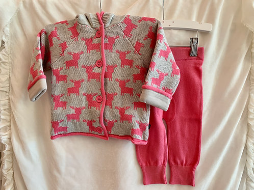 Grey and Pink Reindeer Cardigan 2pc