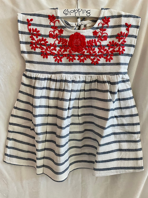 Blue and White w/ Red Striped Post Dress