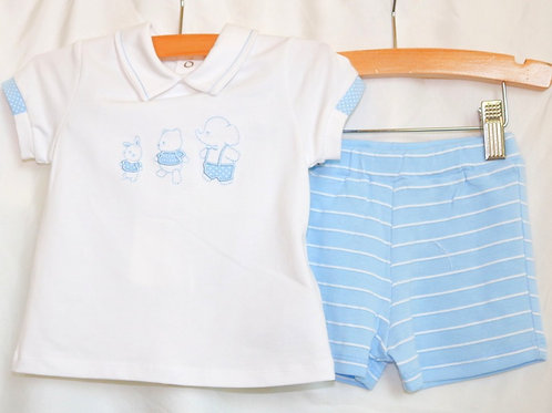 3 Animals and Blue Shorts 2pc