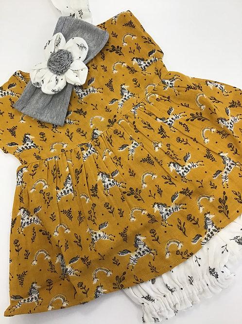 Mustard Unicorn Dress with Bloomers