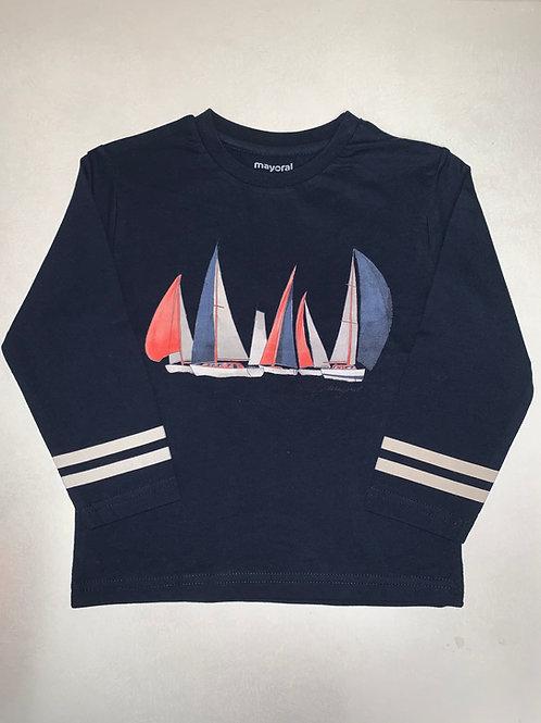 Mayoral Long Sleeve Sailboat Shirt