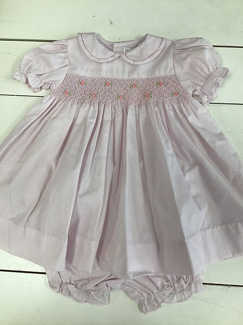 Pink Dot Smocked Puff Sleeve Dress w/Bloomers