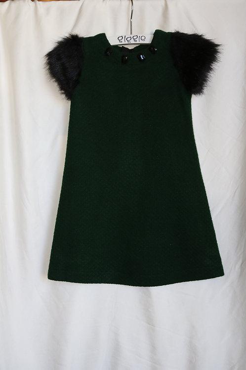 Green Dress With Black Fur Cap Sleeves