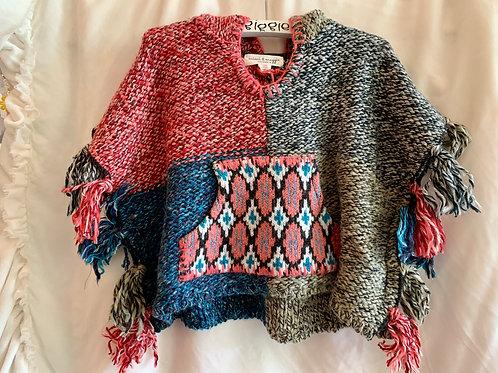 Yarn Tribal Print Poncho
