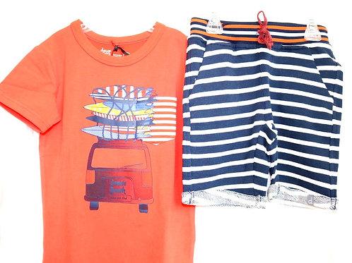 Orange Car Shirt and Striped Shorts