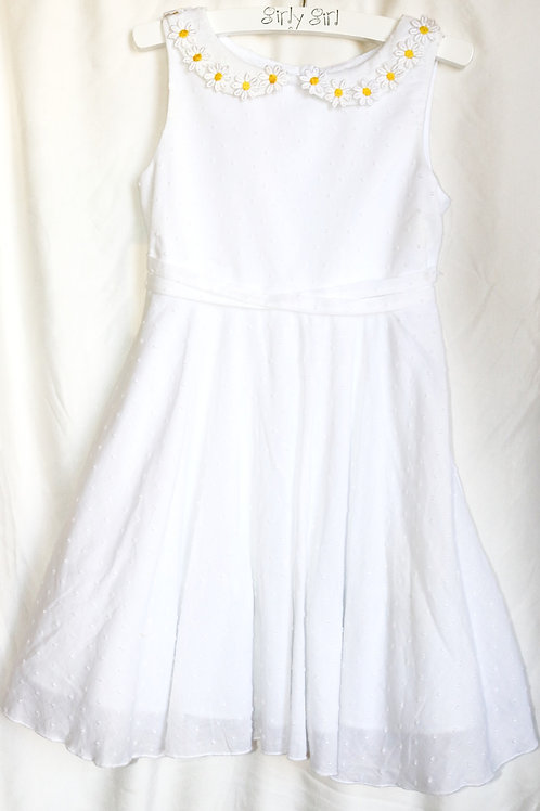 White Dress With Daisy Neck Line