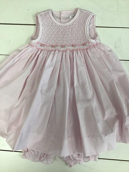 Pink Sleeveless Smocked Dress w/Bloomers