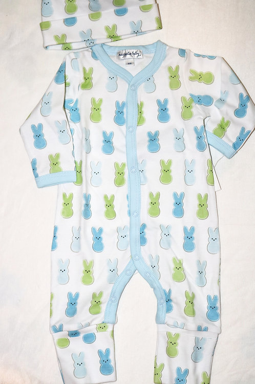 Blue and Green Bunny Footless 2pc