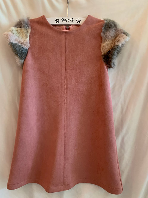 Pink Dress w/ Fur Cap Sleeves