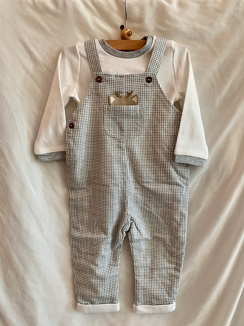 Reindeer Long Sleeve Overalls 2pc