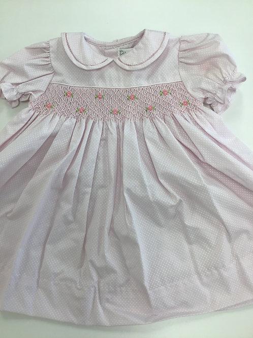 Pink Dot Smocked Puff Sleeve Dress