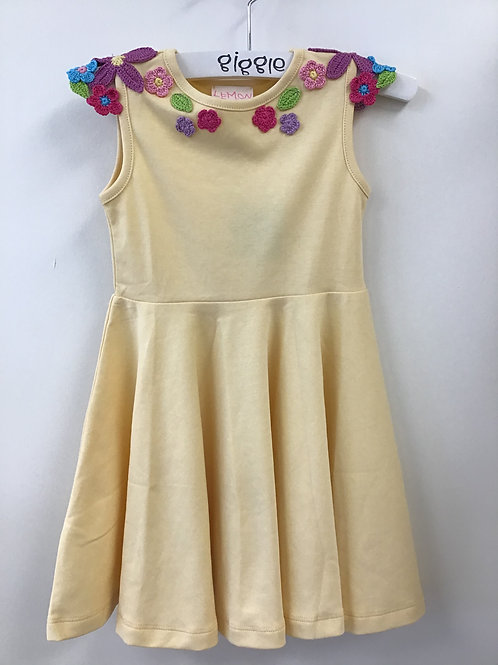 Butter Dress with Crocheted Flowers