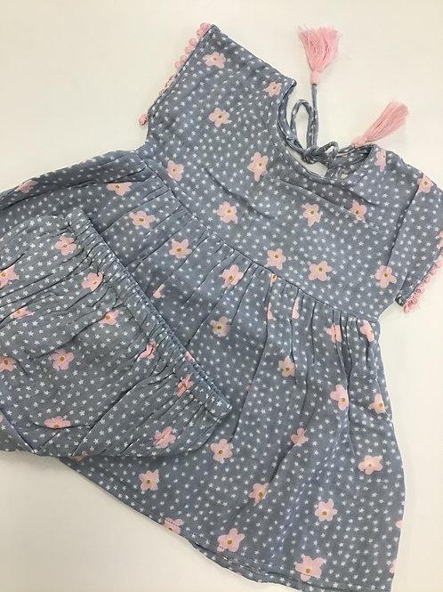 Blue w/Pink Flowers Dress & Panties