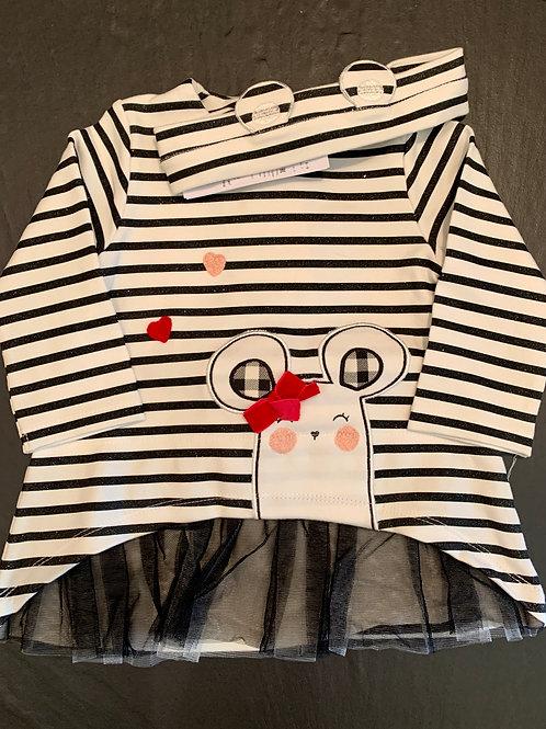 Black & White Striped Dress w/ Headband