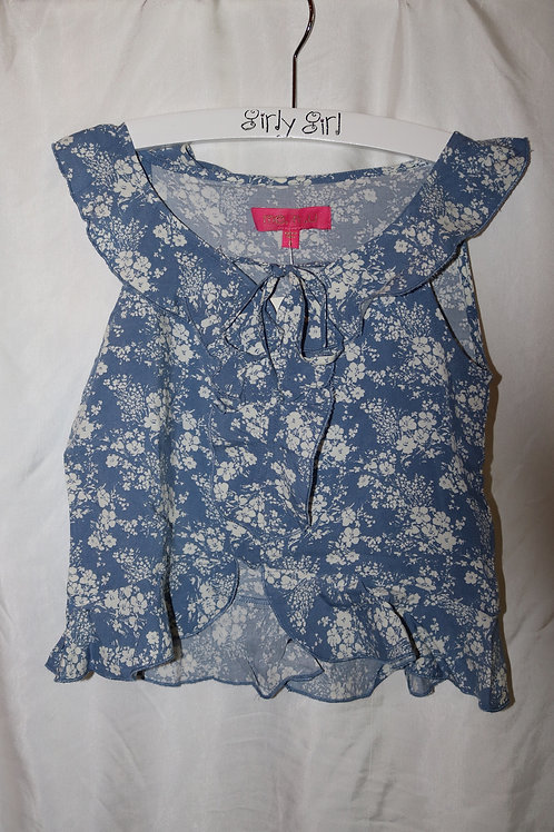 Blue Floral Top and Skirt 2pc