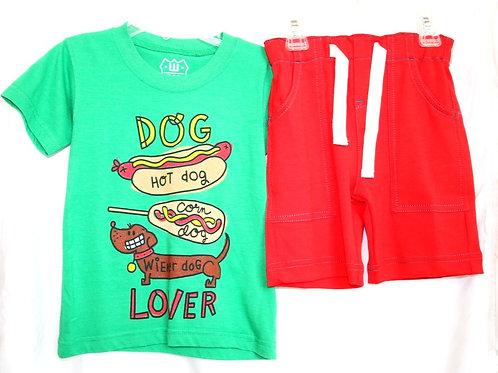 Hot Dog Shirt and Red Shorts