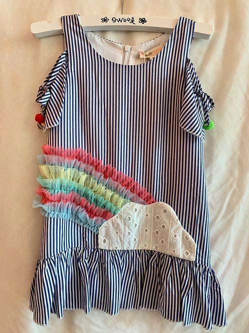 Blue & White Striped Rainbow Dress