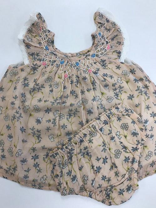 Peach and Blue Smocked Dress w/Panties