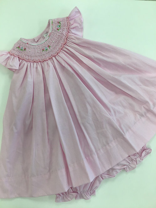 Pink Check Flutter Sleeve Dress w/Bloomers