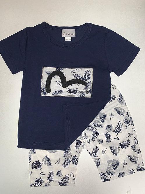 Te Mo Mo Navy Shirt & Shorts 2pc