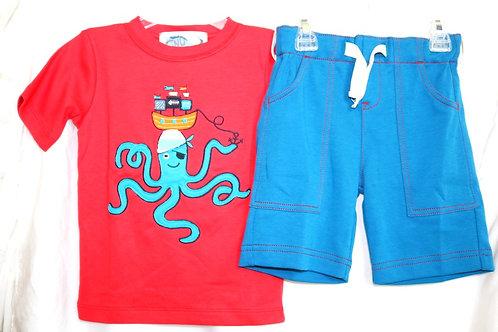 Octopus Shirt and Blue Shorts