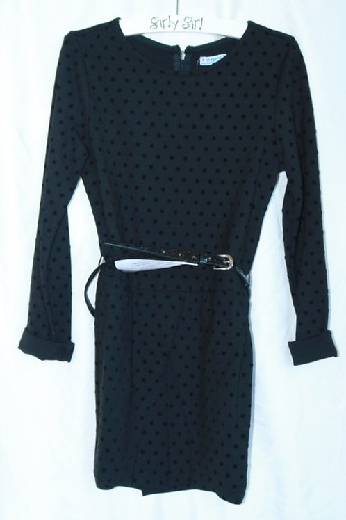 Black Polka Dot Belt Dress