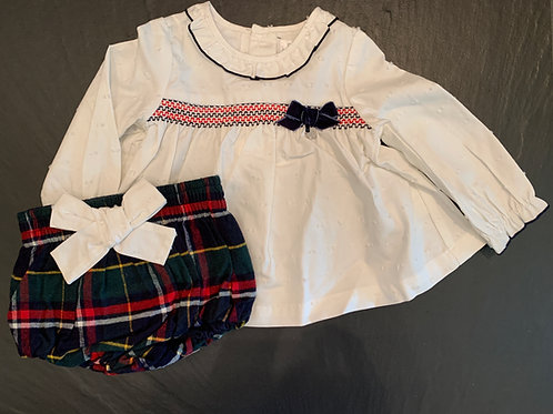 White Long Sleeve w/ Plaid Bloomers