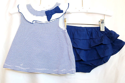 Navy Blue Striped Tank and Skirt 2pc