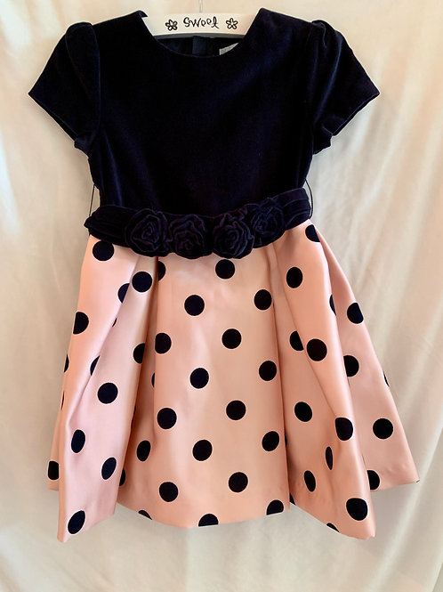 Navy & Pink Polka Dot Dress