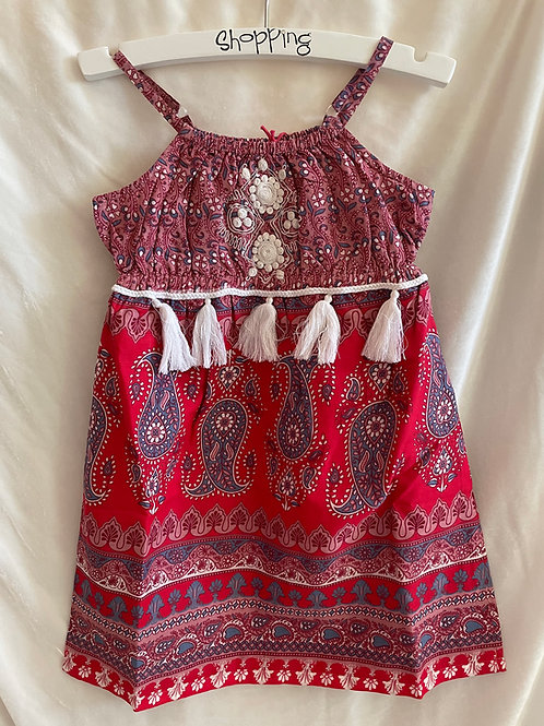Red Paisley Tassel Dress