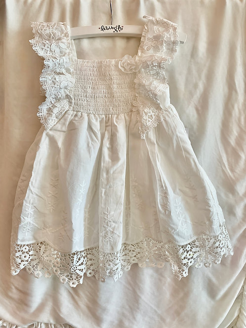 White Floral Detailed Dress