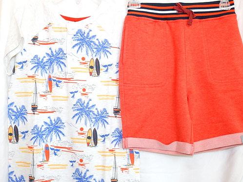 Surfer Shirt and Orange Shorts