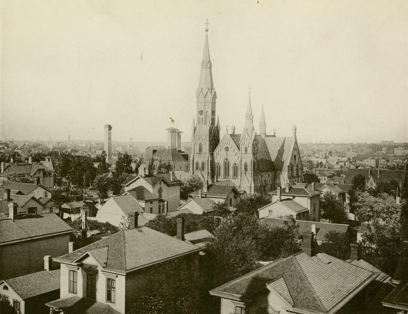 Trinity Evangelical Lutheran Church 1885. I used this picture because it was a giant church in the heart of a city.