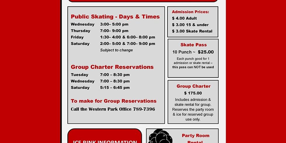2020/21 Western Park Ice Rink Schedule