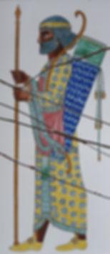 hcarestauration objets d'art faïence peinte archers perses