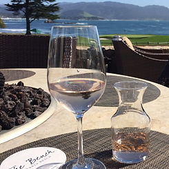 Wine glass and firepit in Pebble Beach