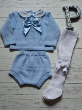 Bow and Lace Cable  Two Piece Set (Tights sold separately)