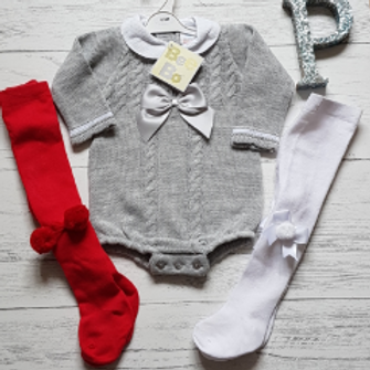 Grey Bow Cable Knit Romper (Tights sold separately)