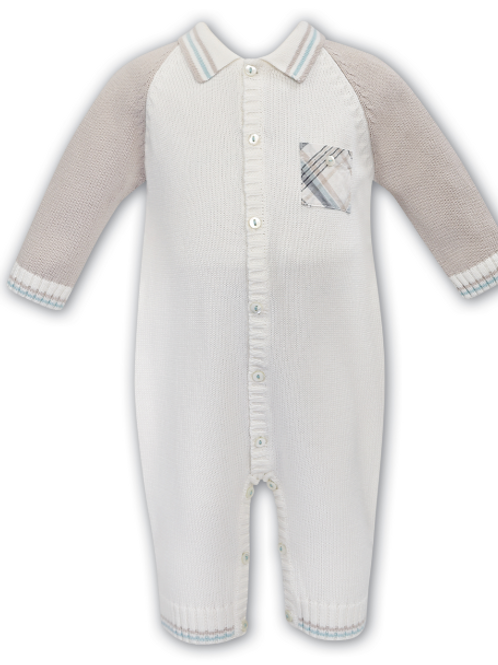Sarah Louise Cream and Caramel Knitted Romper