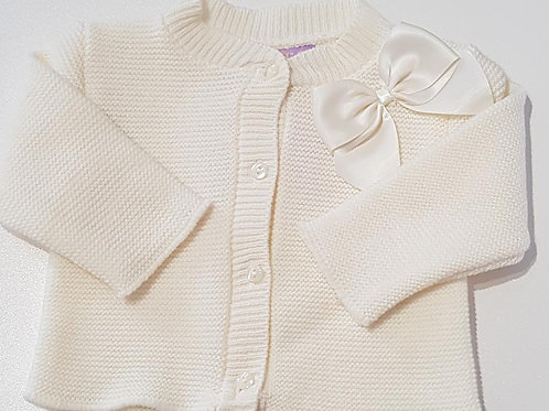 Cream Cardigan With Bow