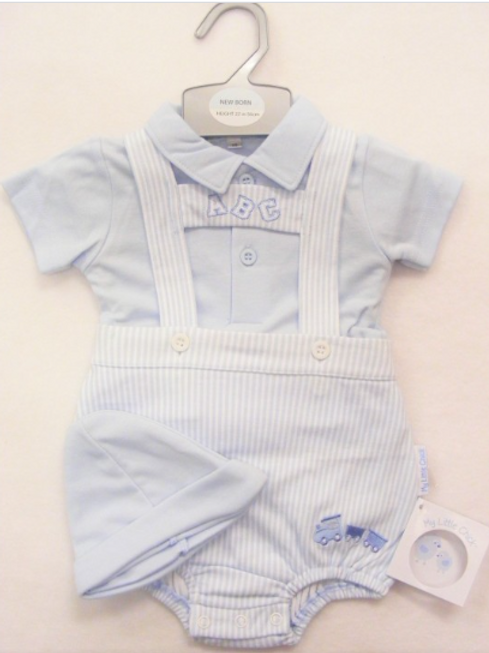 Baby Boys H-Top Romper with Blue Top