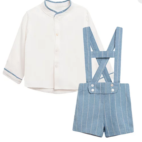 Blue Pinstripe Romper with Shirt