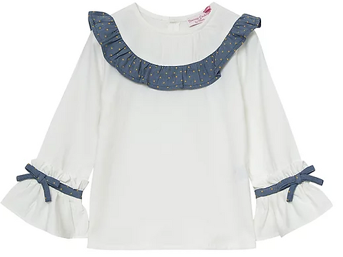 Ivory Blouse with Blue Trim