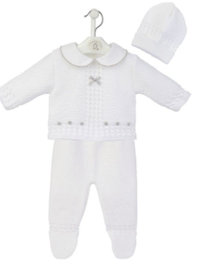 White Knitted 3 Piece Set