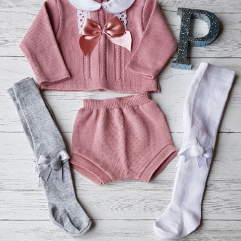 Dusky Pink Bow and Lace Set (Tights sold separately)