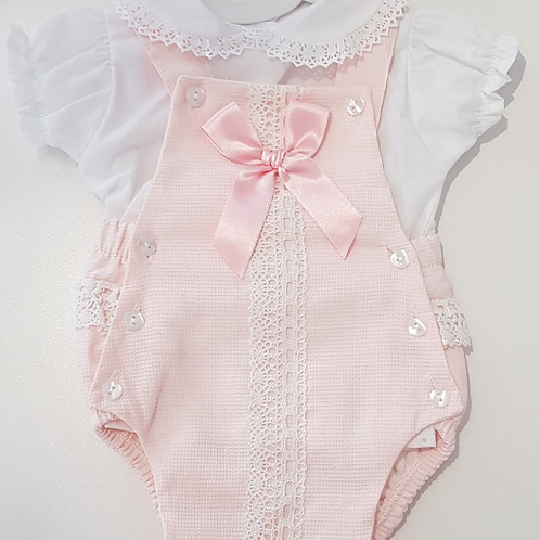 Romper with Large Satin Bow and Lace Panel