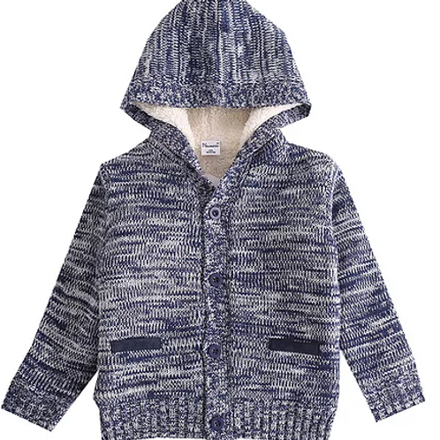 Blue Fleece Lined Knitted Jacket