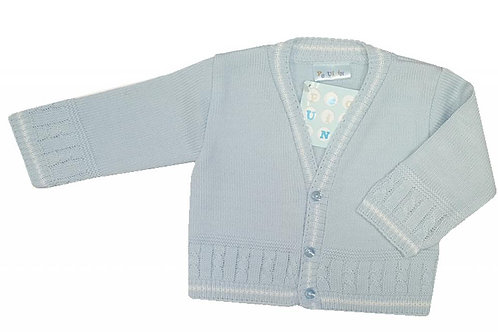 Sky/White Cable and Stripes Cardigan