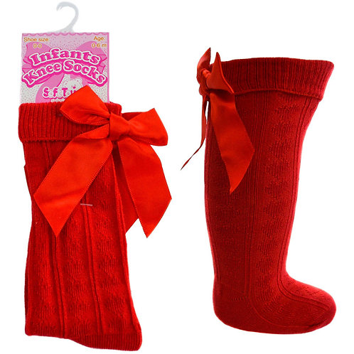 Heart Knee High Sock With Bow