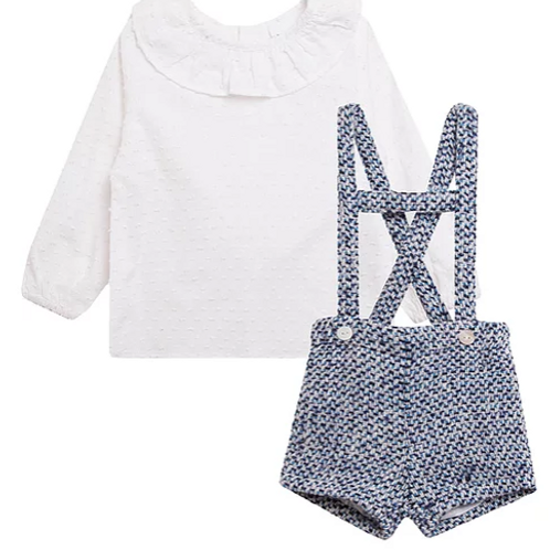 Blue Tweed Romper With Shirt